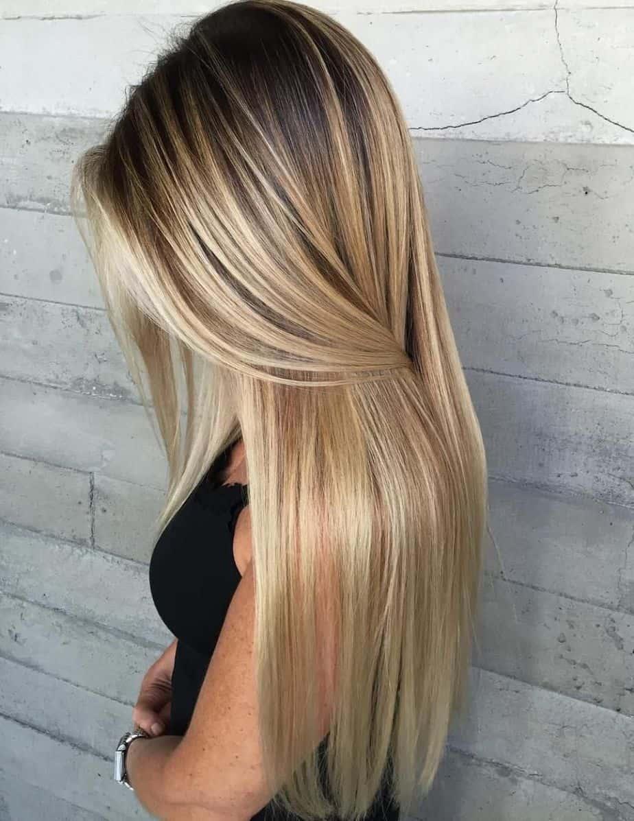 Sleek Long Straight Hair with Soft Highlights2021