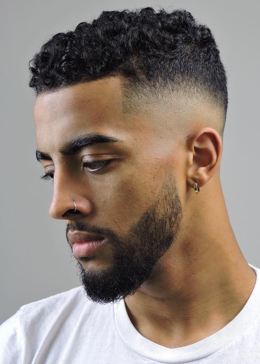 Short Curly Top Haircut 2021 with Fade for Black Men