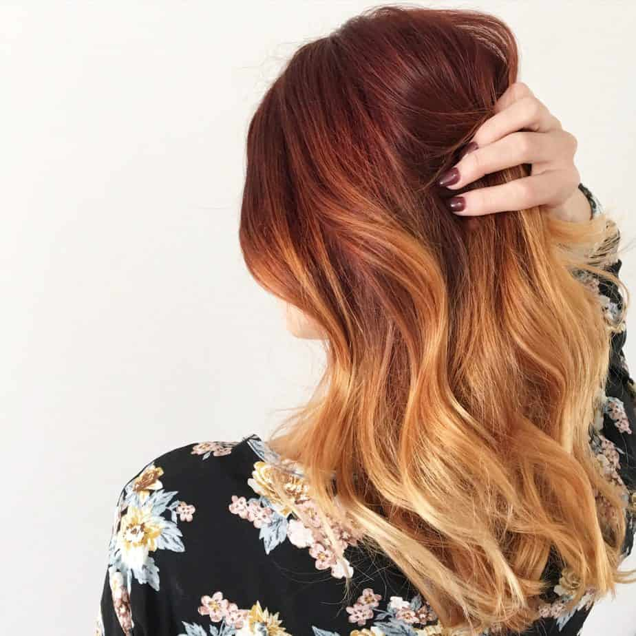 Cool Ombre Hairstyles 2021 - Dark Red to Blonde