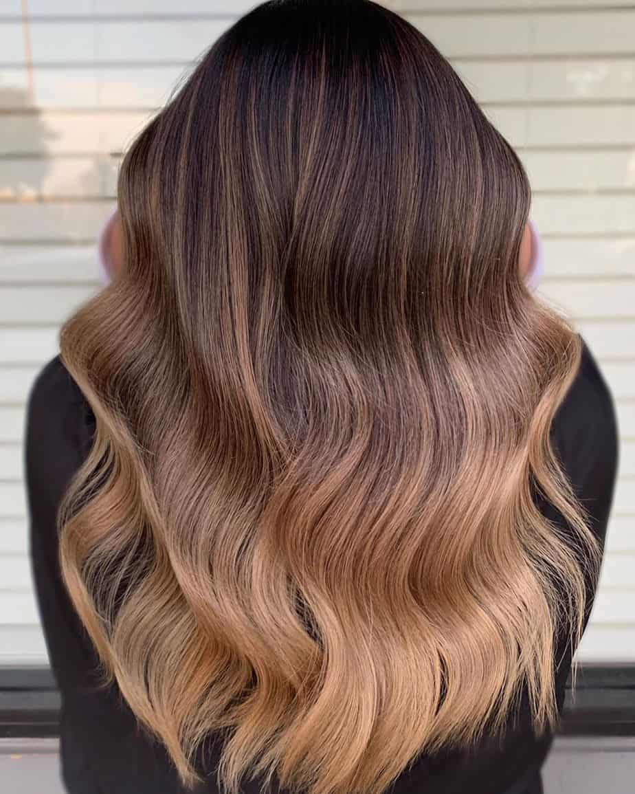 ombre hairstyles 2021 chocolate brown hair with caramel ombre